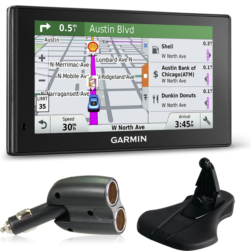 Garmin 010-01538-01 DriveSmart 70LMT GPS Navigator Charger + Friction Mount Bundle includes Garmin DriveSmart 70LMT, UGC-102-BL Dual 12V Car GPS Charger and Portable Friction Mount (Flexible Style)