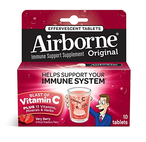 6 Pack - Airborne Effervescent Health Formula Tablets, Very Berry, 10 Each