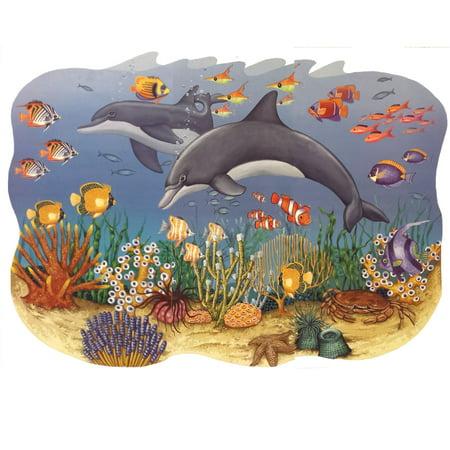 Ocean Seascape Mural Dolphins Self-Stick Wall Accent Set (Ocean Murals)