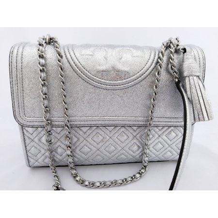 1c8c1992ae3 Tory Burch - NWT Tory Burch Large Fleming Quilted Leather Shoulder Bag  Crossbody Spark Silver - Walmart.com