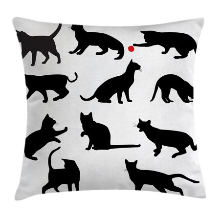 Cat Throw Pillow Cushion Cover, Silhouette of Kittens in Various Postures Playing with Red Ball Animal Pet Paw Print, Decorative Square Accent Pillow Case, 16 X 16 Inches, Black White, by Ambesonne