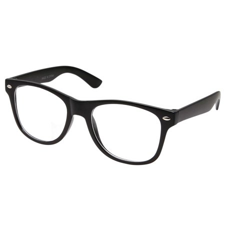 Retro NERD Geek Oversized BLACK Framed Clear Lens Eye Glasses for Men Women, plastic frame By (Tightening Glasses Plastic Frames)