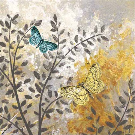 Textured Canvas (Botanical Butterfly Texture Painting Grey & Yellow Canvas Art by Pied Piper)