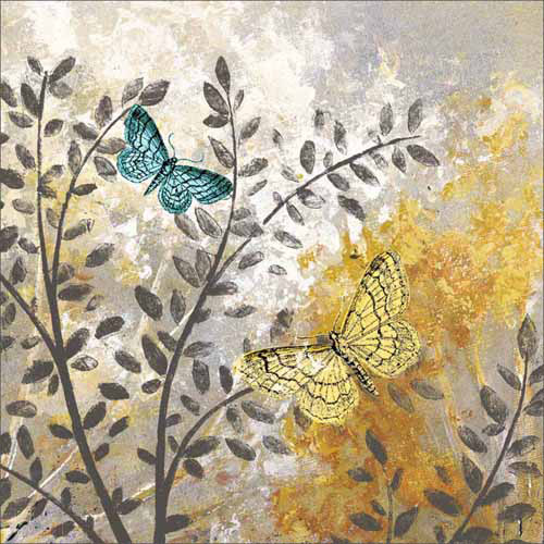 Botanical Butterfly Texture Painting Grey & Yellow Canvas Art by Pied Piper Creative