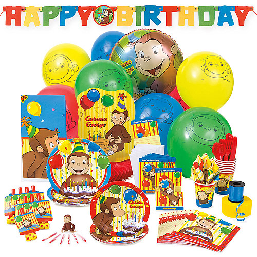 deluxe curious george party supplies kit for 8 walmartcom