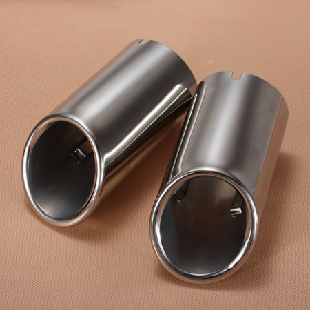 2Pcs Car Stainless Steel Chrome Exhaust Tail Rear Muffler Tip Pipe For Audi A4 B8 Q5 2009 2010 2011 2012 - image 2 of 7