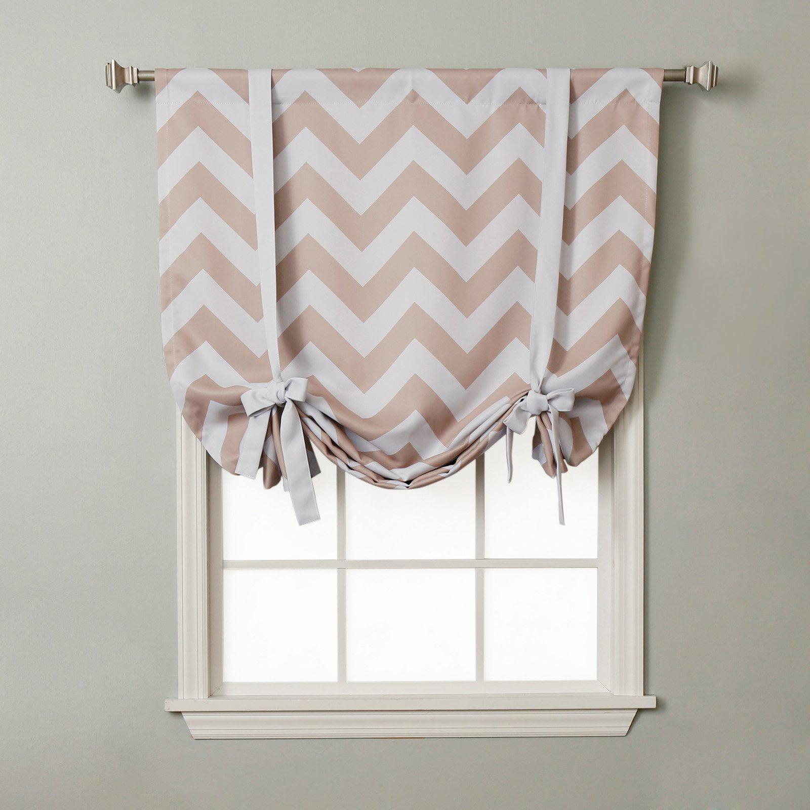 Best Home Fashion Chevron Print Room Darkening Tie-Up Window Shade