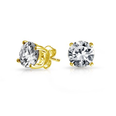 Simple Cubic Zirconia Round Brilliant Cut Solitaire AAA CZ Stud Earrings For Women Men 14K Gold Plated Sterling Silver