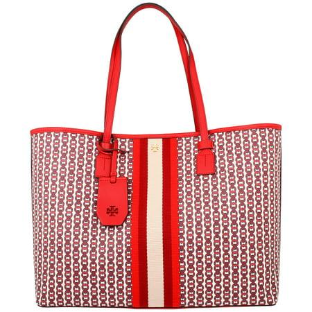Tory Burch Gemini Ladies Large Liberty Red Canvas Tote Bag 53303-939 Ivory Satin Purse
