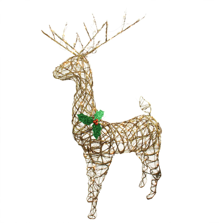 57 standing grapevine reindeer lighted christmas yard art decoration clear lights walmartcom - Outdoor Christmas Reindeer Decorations Lighted