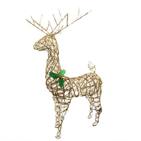 57 standing grapevine reindeer lighted christmas yard art decoration clear lights - Christmas Deer Yard Decorations