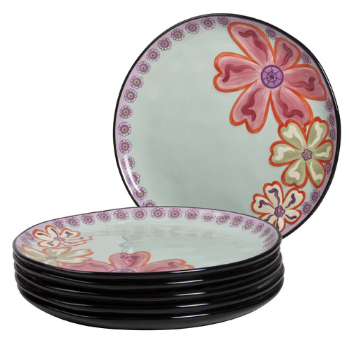 Kathy Davis Hearts and Flowers 11'' Round Dinner Plate (Set of 6)