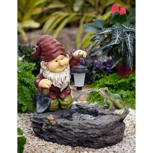 Gnome Fountain with Solar Light by