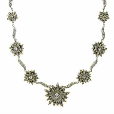 Sterling Silver Simulated Diamond and Yellow cz Sunburst Flower Necklace