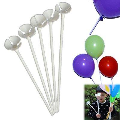 balloon sticks 72 pieces white plastic balloon sticks with cup party decoration, carnival fun etc. - Parties Decoration