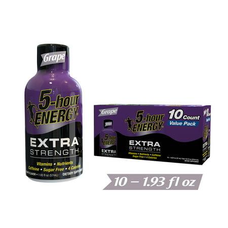 5-Hour ENERGY Extra Strength Energy Shot, Grape, 1.93 fl oz, 10 count ()