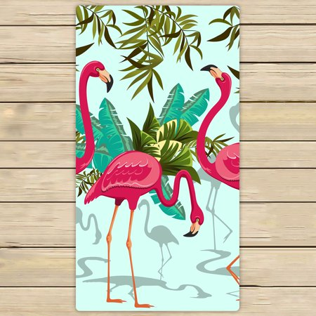- YKCG Pink Flamingo Tropical Floral Palm Leaves Hand Towel Beach Towels Bath Shower Towel Bath Wrap For Home Outdoor Travel Use 30x56 inches