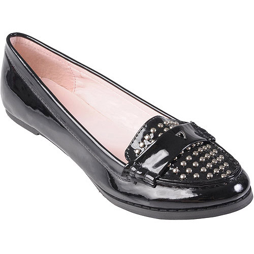 Brinley Co Womens Patent Leather Studded Loafer
