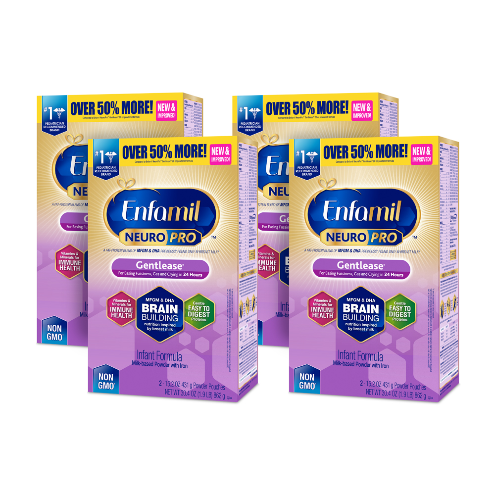 Enfamil Gentlease NeuroPro Baby Formula, 30.4 oz Powder Refill Box (4 Pack) by Enfamil Gentlease