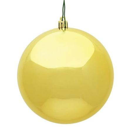 8 in. Honey Gold Shiny UV Drilled Cap Christmas Ornament Ball - image 1 de 1