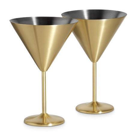 VonShef Martini 16 oz. Stainless Steel Cocktail Glass (Set of 2)](Orange Martini Glasses)