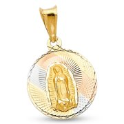 Lady Guadalupe Coin Pendant 14k Yellow White Rose Gold Virgin Mary Charm Solid Tri Color 20 x 15 mm