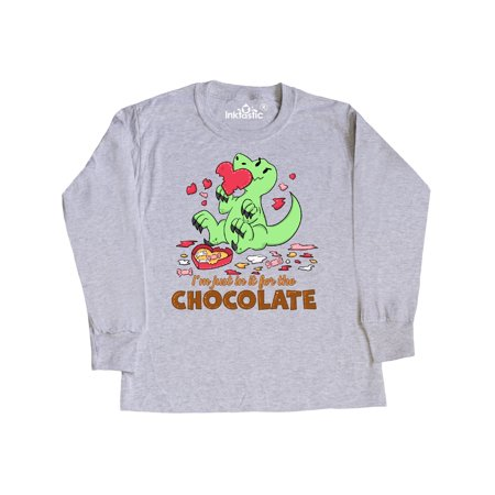 I'm Just in it for the Chocolate cute Valentine's Dinosaur Youth Long Sleeve T-Shirt