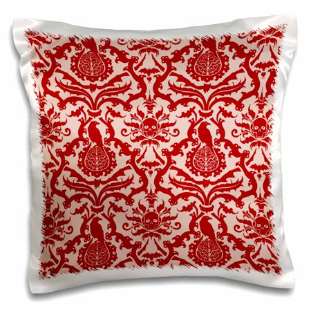 3dRose Bats, Ravens, Brains and Skulls Goth Horror Damask Pattern in Red, Pillow Case, 16 by 16-inch