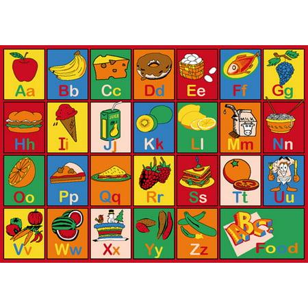 Kids Rug Alphabet Food 3' X 5' Children Area - Non Skid Gel Backing (39