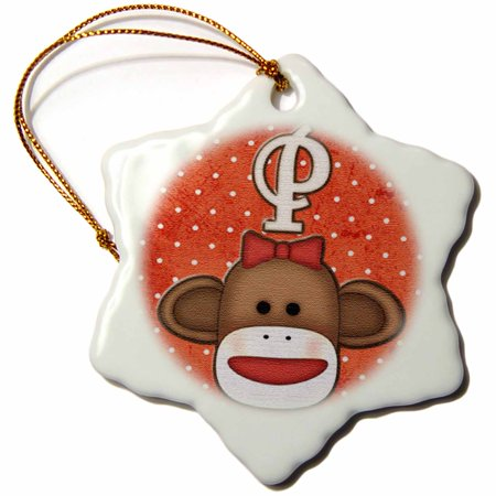3dRose Cute Sock Monkey Girl Initial Letter P, Snowflake Ornament, Porcelain, 3-inch