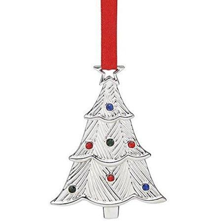 Lenox Christmas Tree (Lenox Multi Colored Jeweled Silver Metal Christmas Tree Ornament 867367 New)