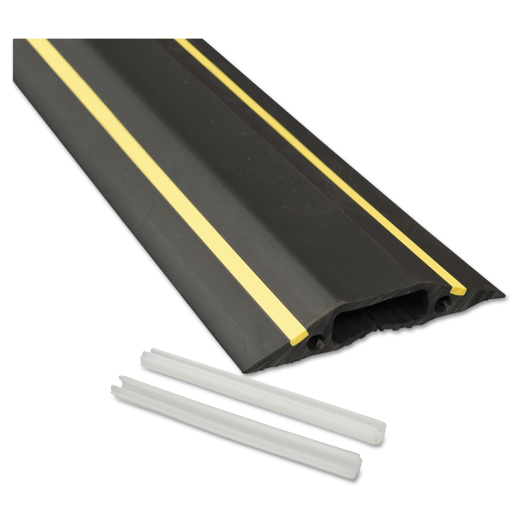 D-Line Medium-Duty Floor Cable Cover, 3 1/4 x 1/2 x 6 ft, Black with Yellow Stripe