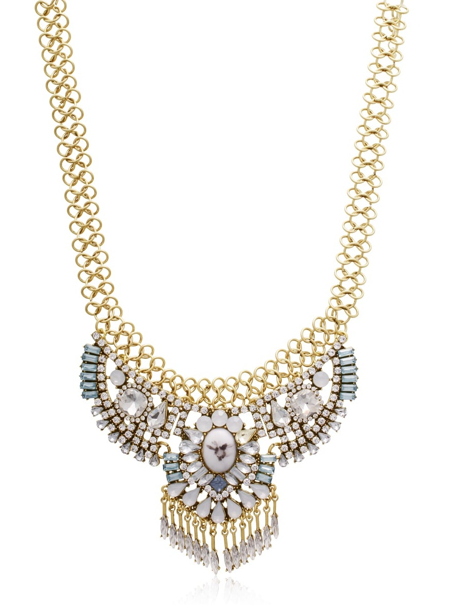Adoriana  Blue and White Crystal Collar Necklace