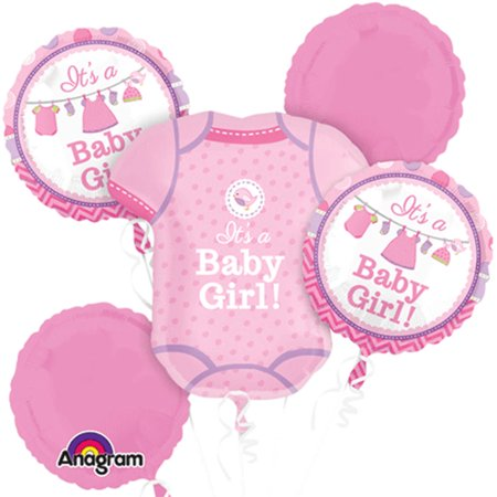 It's a Baby Girl Shirt Shower Theme Foil Balloon Bouquet - Baby Shower Balloon Bouquets
