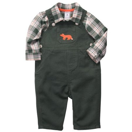 Carter's Baby Boys' 2 Piece Olive Green Fox Overall Set - Newborn