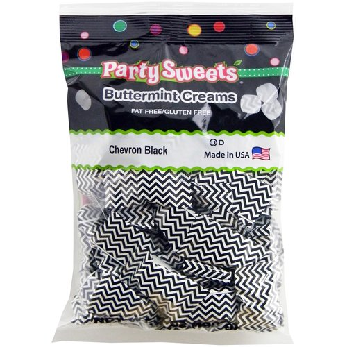 Party Sweets Chevron Black Buttermint Creams Candy, 7 oz
