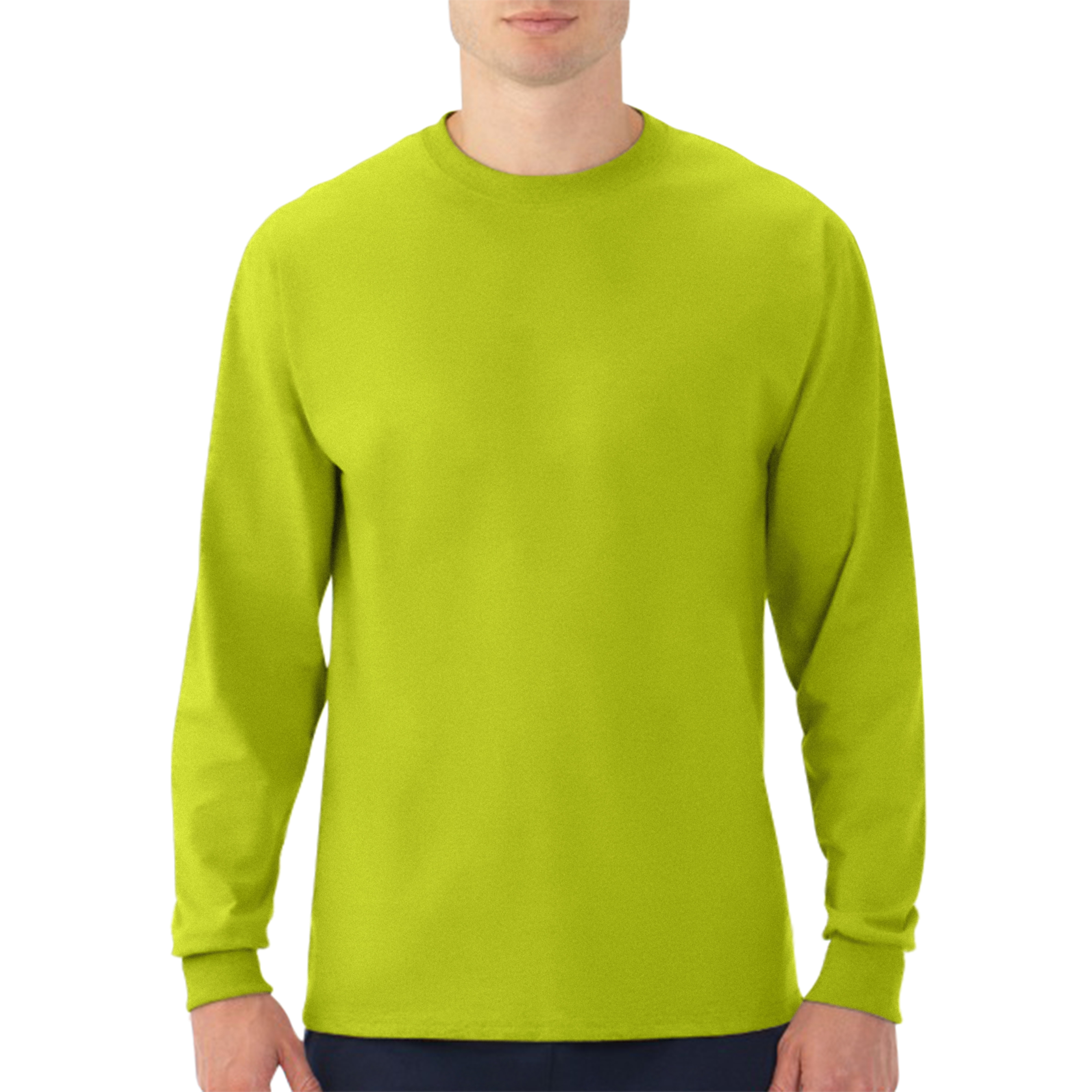 Generic Fruit of the Loom Platinum Eversoft Big Men's Long Sleeve Crew T Shirt with Rib Cuffs