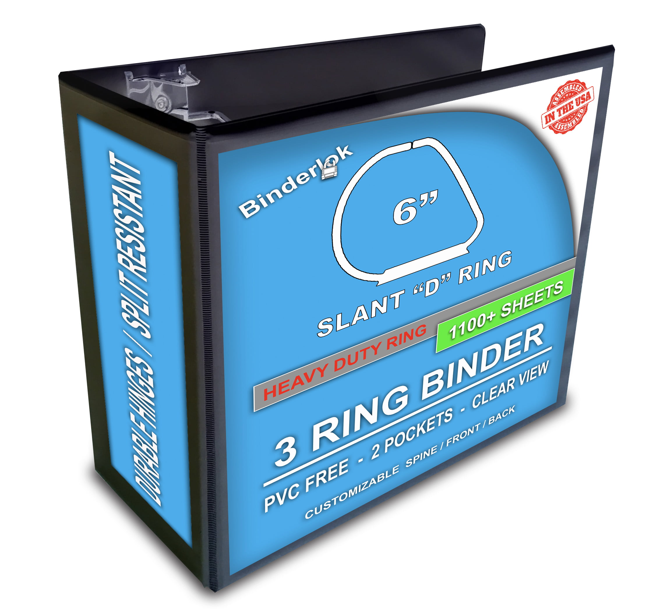 Clear View 3 Ring Binder Black Slant D-Rings 5 Inch Pockets