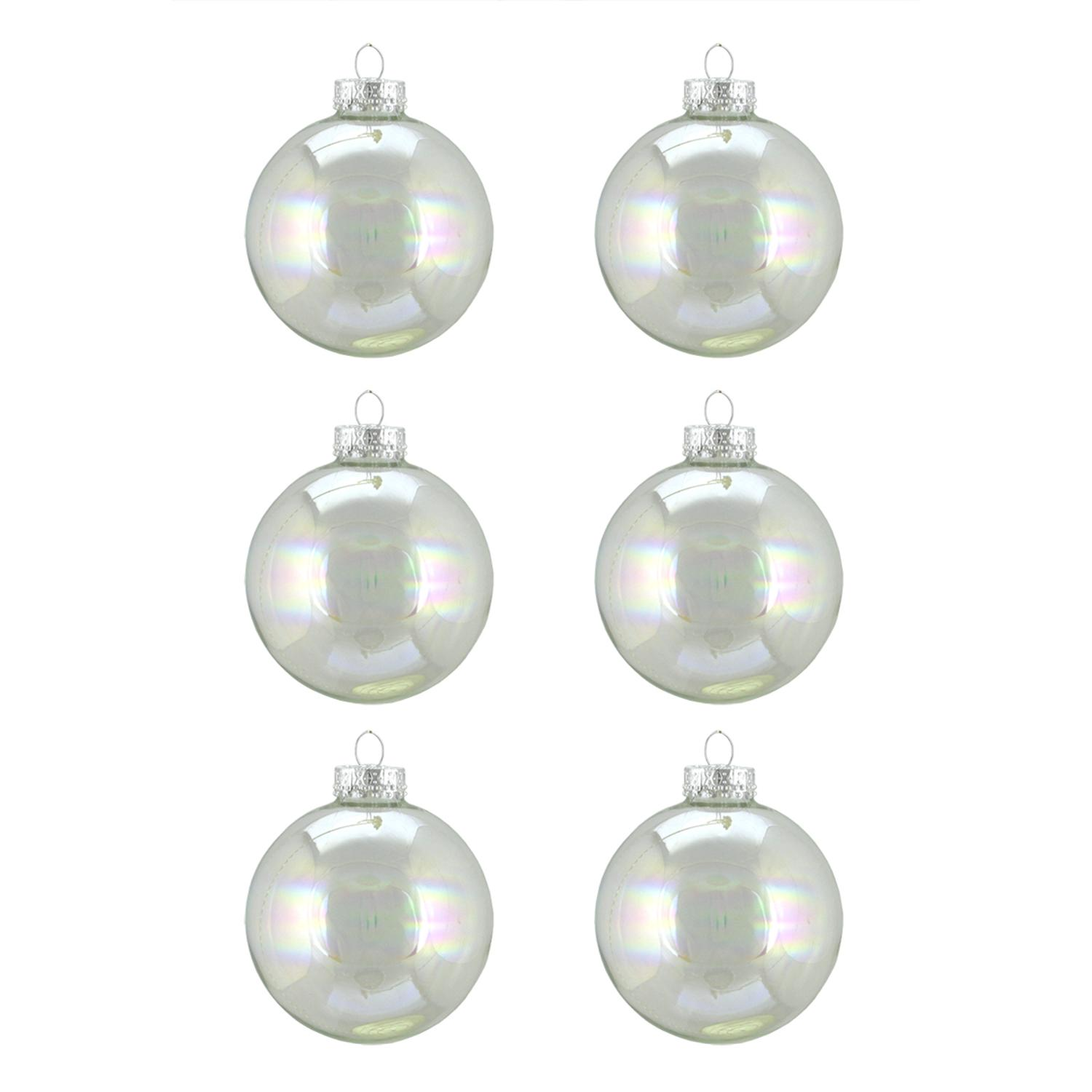 "Northlight 6ct Iridescent Glass Ball Christmas Ornament Set 2.5"" - Clear"