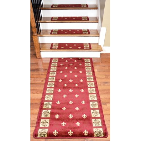 Dean Premium Carpet Stair Treads Red Fleur De Lys 31 Quot X