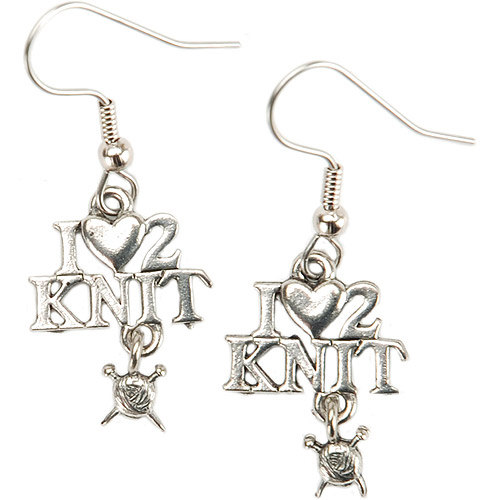 Cedar Creek Quilt Designs Charming Accents French Wire Earrings, I (Heart) 2 Knit