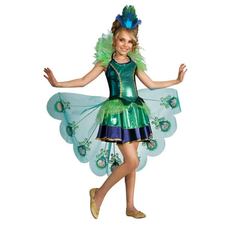Burlesque Peacock Costume (Peacock Girl Child Costume - Large)