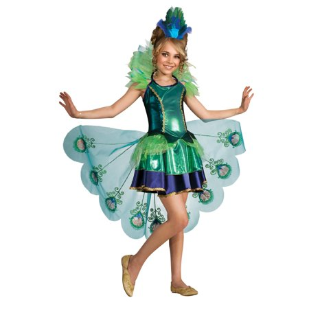 Burlesque Peacock Costume (Peacock Girl Child Costume - Medium)