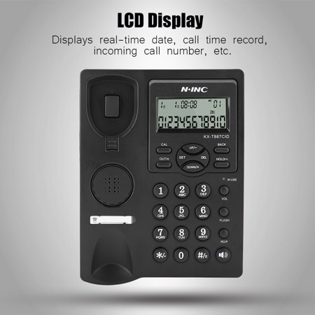 Ymiko LCD Display Hands Free Corded Phone with Speakerphone 3-group Alarms Desktop Corded Telephone, Corded Phone with Caller ID, Corded Telephones for Home 16 Line Display Pbx Speakerphone