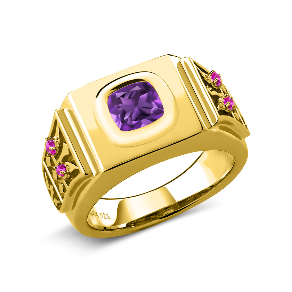 2.09 Ct Purple Amethyst Pink Sapphire 18K Yellow Gold Plated Silver Men's Ring by