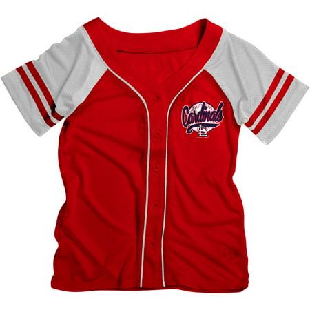 MLB St. Louis Cardinals Girls Short Sleeve Button Down Mesh Jersey