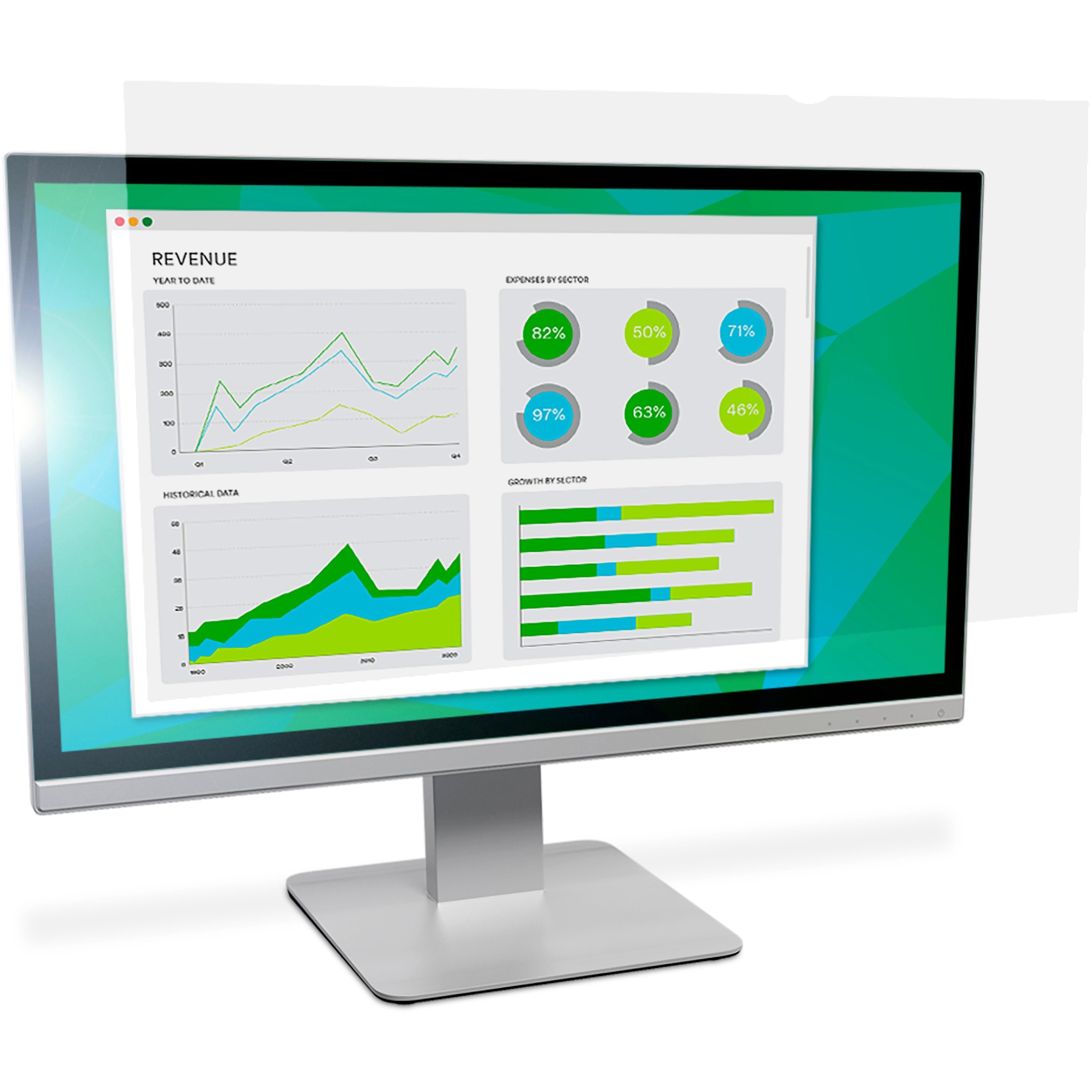 """3M, MMMAG190W1B, Anti-Glare Filter for 19"""" Widescreen Monitor (16:10) (AG190W1B), Clear,Matte"""
