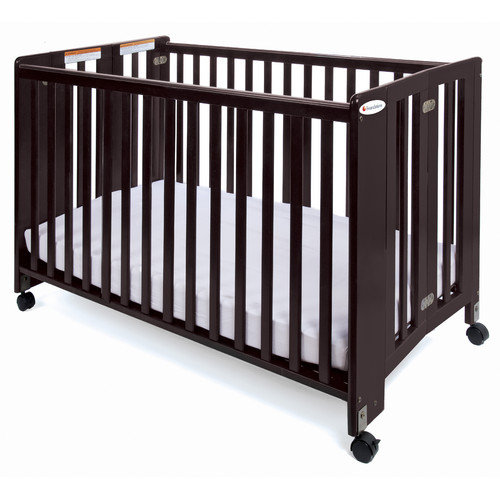 Foundations HideAway Series Nursery Folding Fixed Side Convertible Crib with Mattress