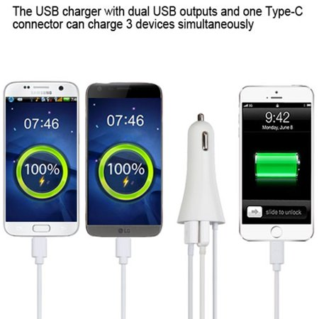 Insten Type-C Car DC Charger Adapter with Dual USB Charing Power Ports - White - image 2 of 4