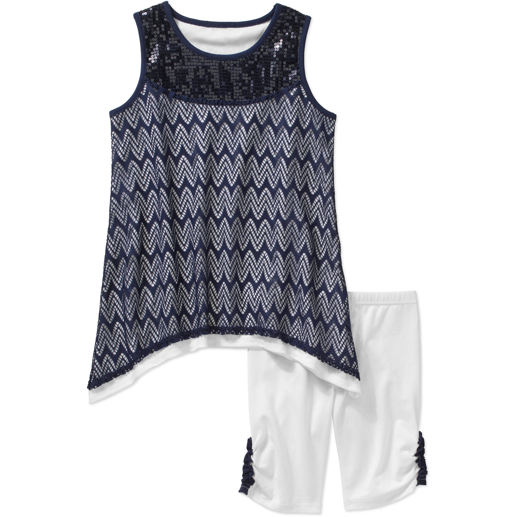 George Girls' Lace Overlay Tank and Bike Short Set